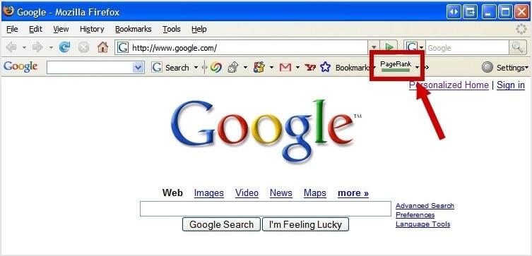 Old screenshot of Google PageRank bar.
