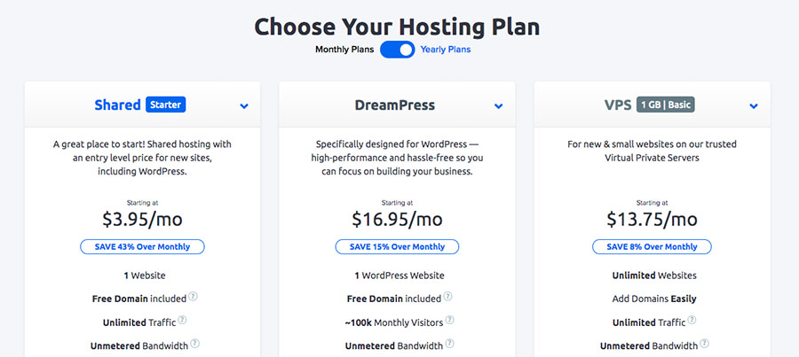 Examples of DreamHost hosting plans.