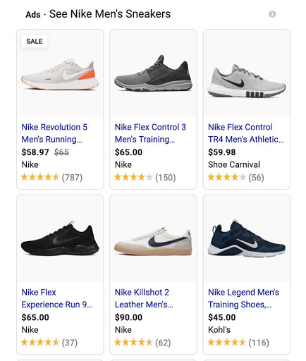 Shopping results for Nike men's sneakers.
