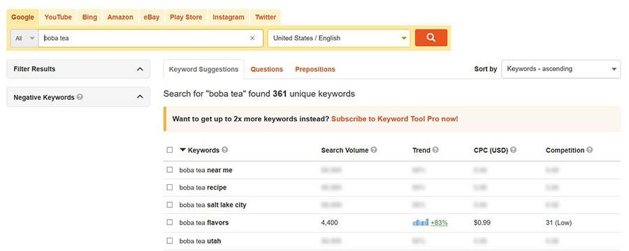 Researching potential domain name keywords.