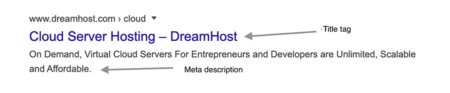 Example of dreamhost.com/cloud title tag and meta description search snippets.