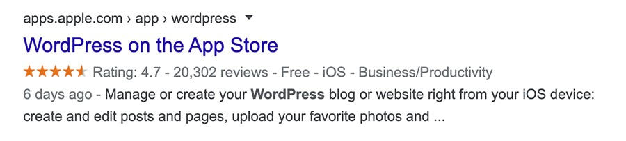 Example of a search snippet for the WordPress app on the Apple App Store.