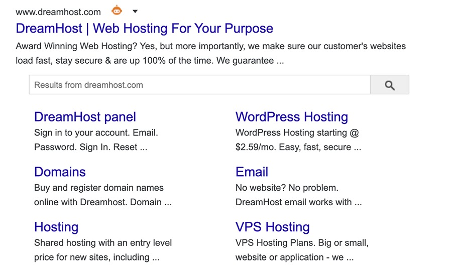 dreamhost.com homepage search results