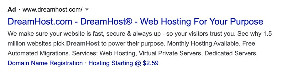 DreamHost paid search result.