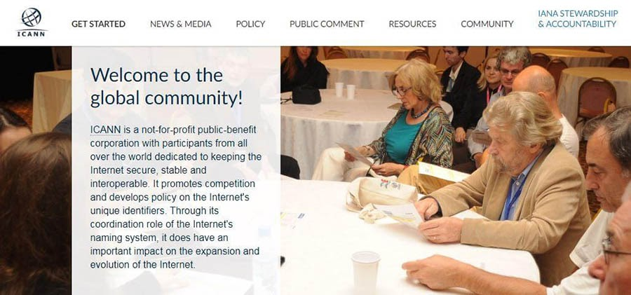 The ICANN 'about us' page.