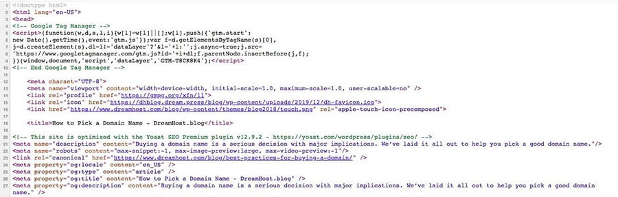 An example of a web page's source code.