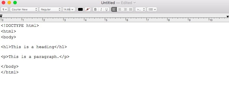 A simple HTML document.