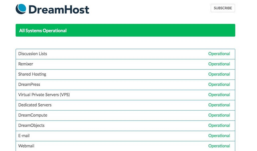 DreamHost's system status page.