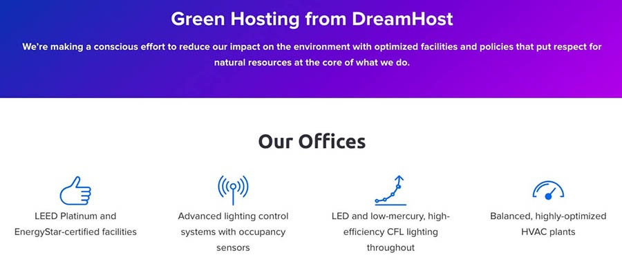 Information about DreamHost's green hosting efforts.