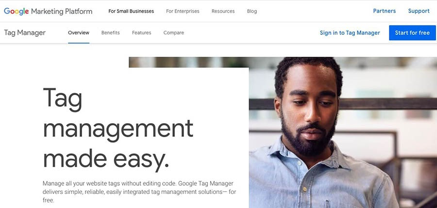The Google Tag Manager home page.