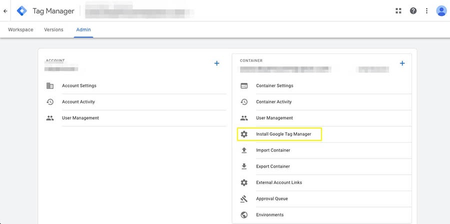 Locating your code snippet in Tag Manager.