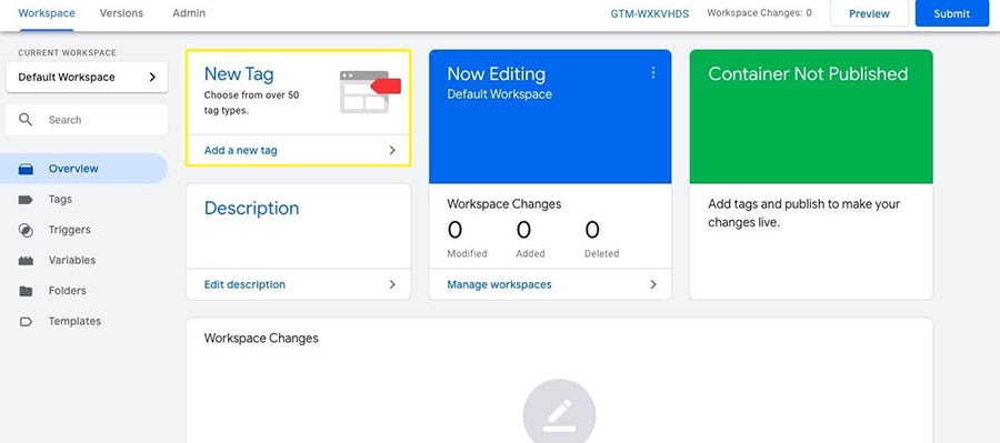 Adding a new tag in Google Tag Manager.