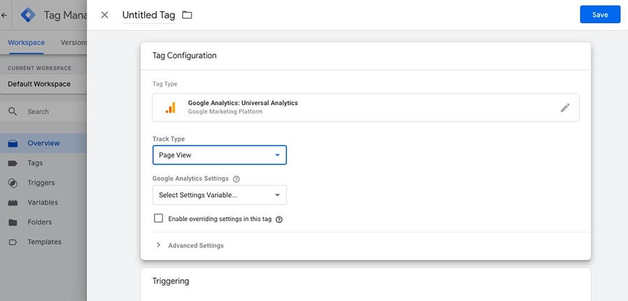 Selecting your settings variables in Tag Manager.