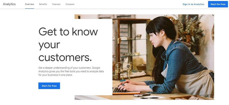 The Google Analytics home page.