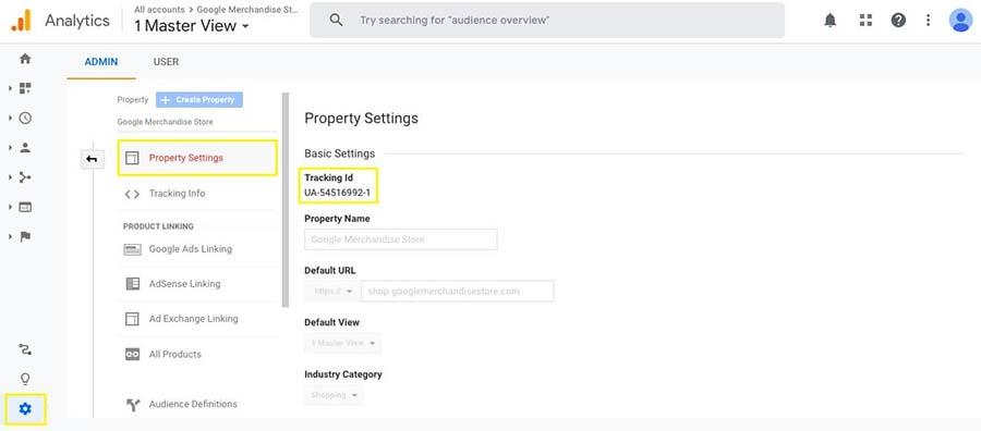 Locating the Google Analytics Tracking ID