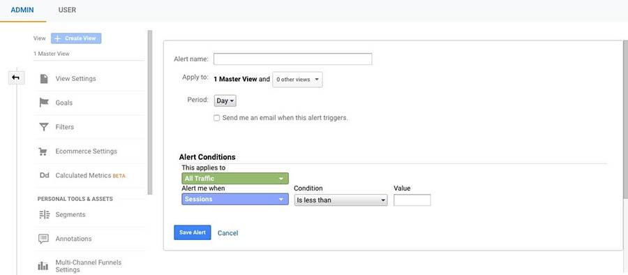 Managing Custom Alerts in Google Analytics.