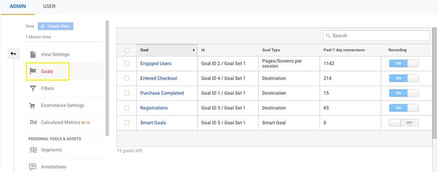 The Goal creation interface in Google Analytics.