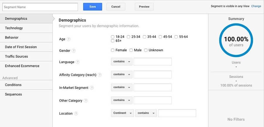 Adding a segment in Google Analytics.