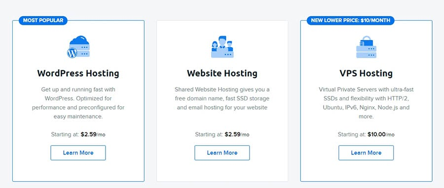 Various hosting plan options at DreamHost.