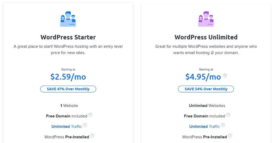Two WordPress hosting plans.