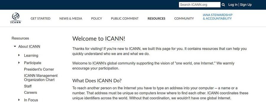 The ICANN website.