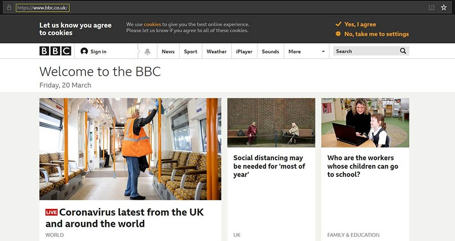 The BBC home page.