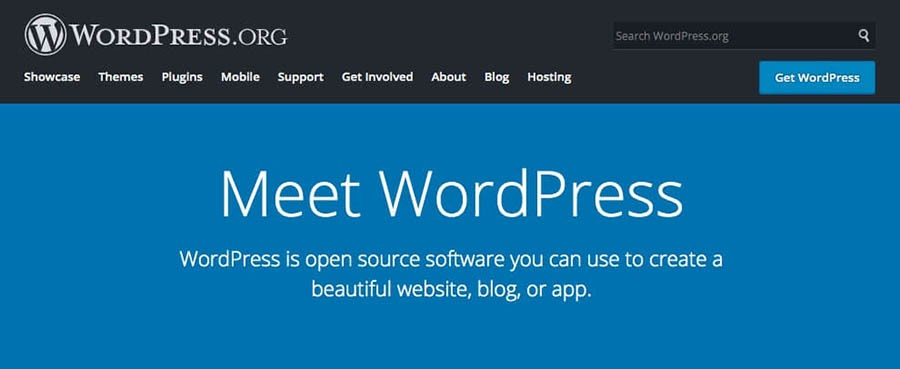 WordPress.org's home page.