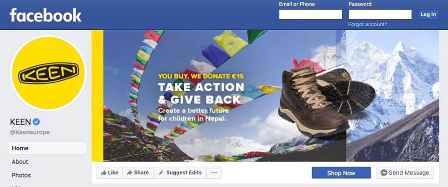 Keen footwear on Facebook