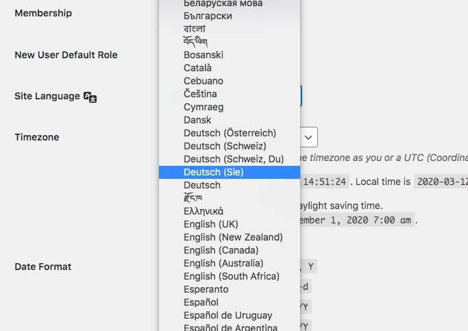 Language choices in WordPress' General Settings.
