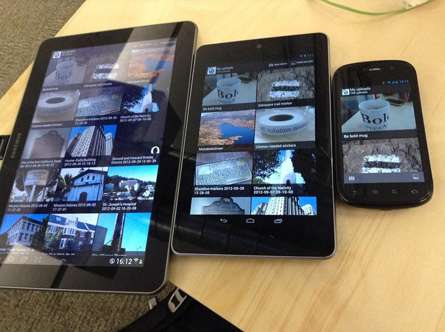 An example of responsive design on three devices.