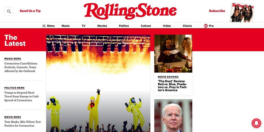 The Rolling Stone magazine's WordPress-powered website.