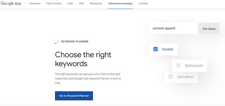 Google Keyword Planner.