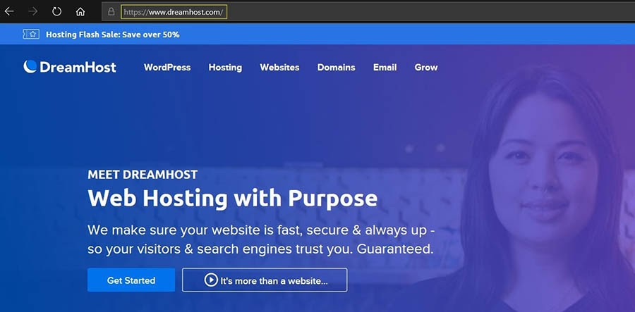 The DreamHost website.