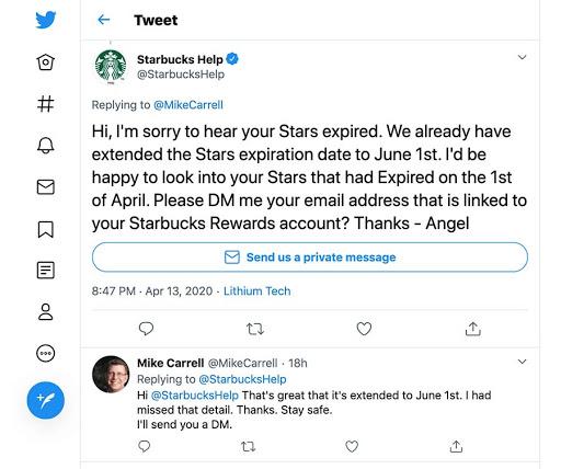 A Starbucks Help Twitter thread.