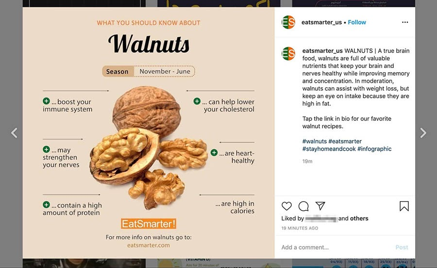 An infographic about walnuts shared by EatSmarter on Instagram.