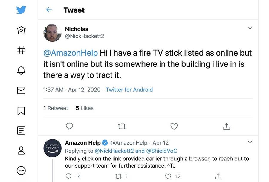 An Amazon Help Twitter thread.