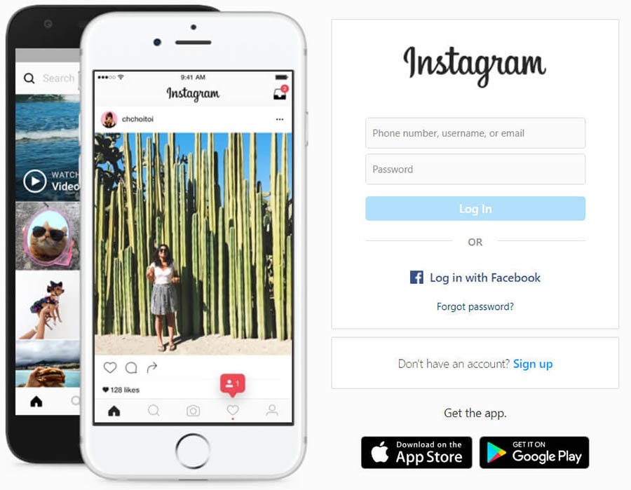 The Instagram home page with log-in and sign-up options.