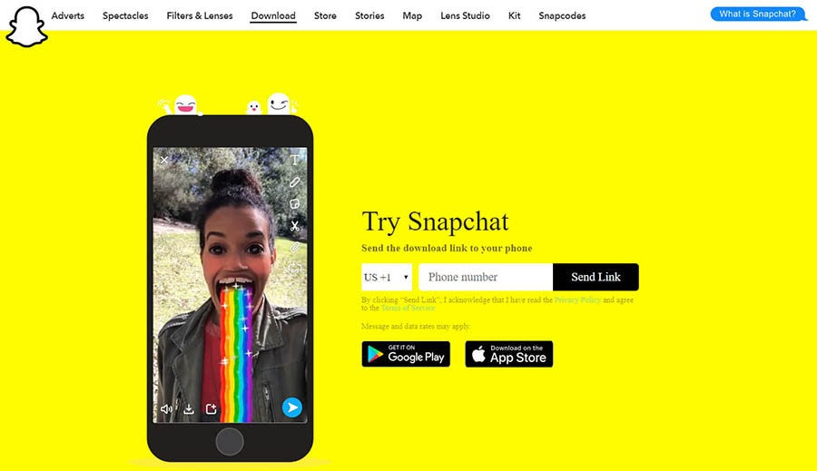 The Snapchat download page with a video sample.