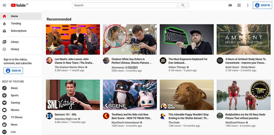 The YouTube home page with recommended videos.