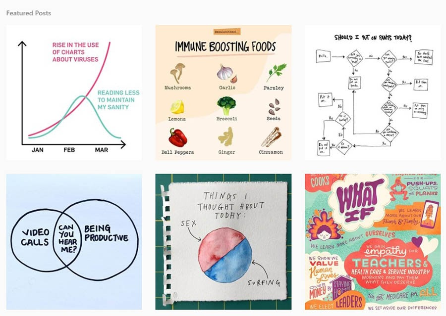 Examples of infographics on Instagram.