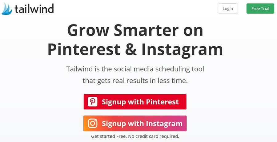 Tailwind home page with sign-up options.