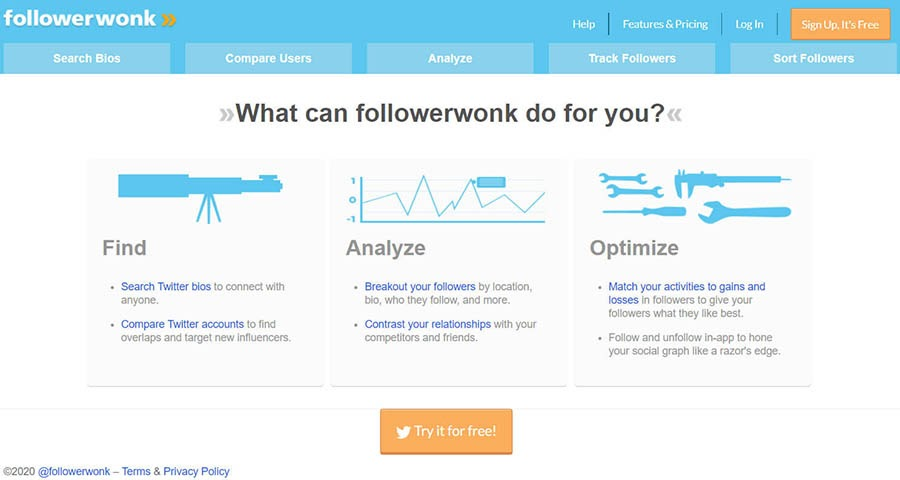 Followerwonk home page with product features.