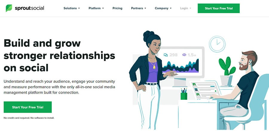 Sprout Social home page with a free trial offer.