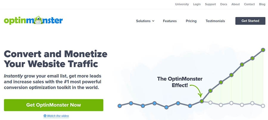OptinMonster home page with graph.