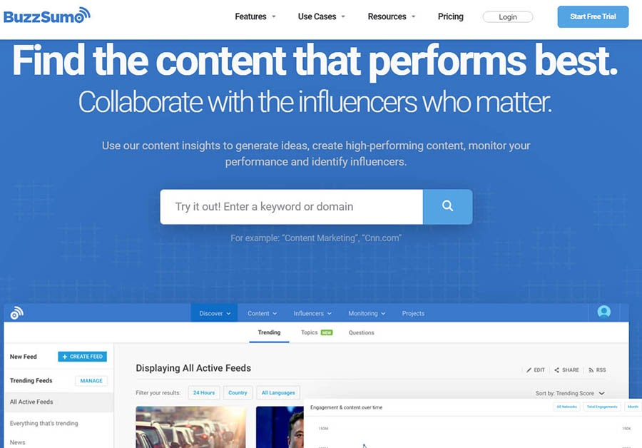BuzzSumo home page with the search feature.