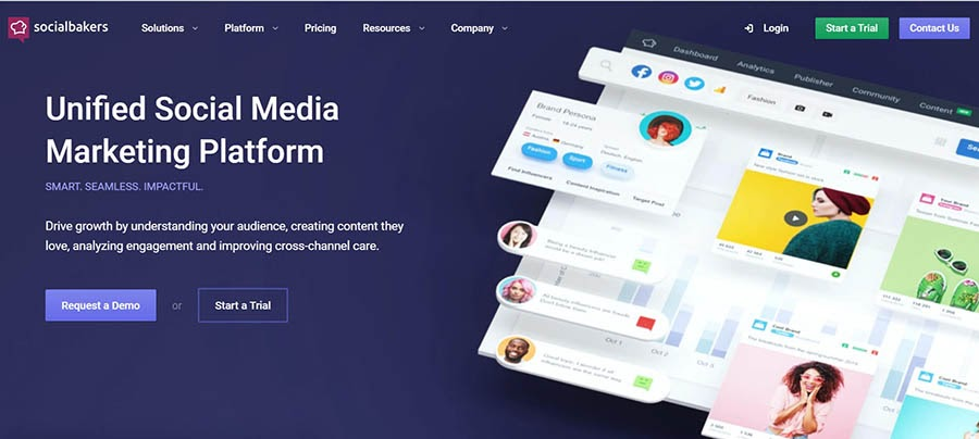 Socialbakers home page with product summary.