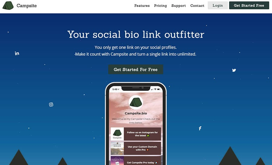 Campsite.bio home page with example mockup.