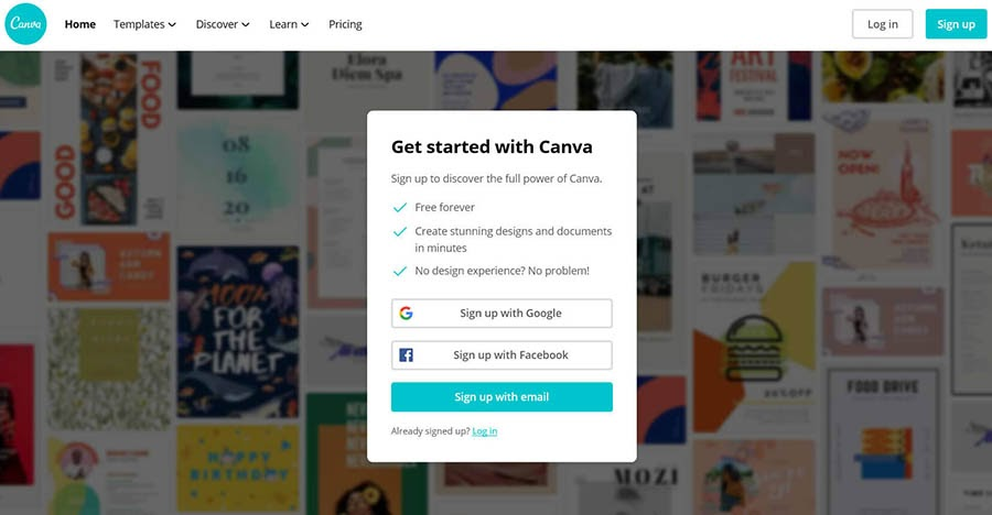 Canva home page with sign-up options.
