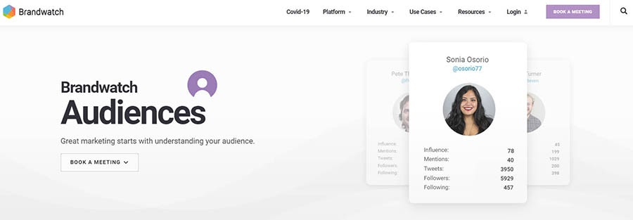 Brandwatch Audiences product page.
