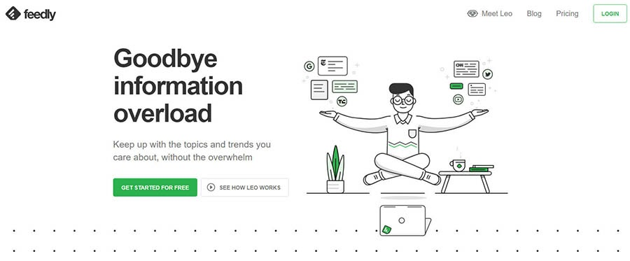 Feedly home page with a sign-up button.